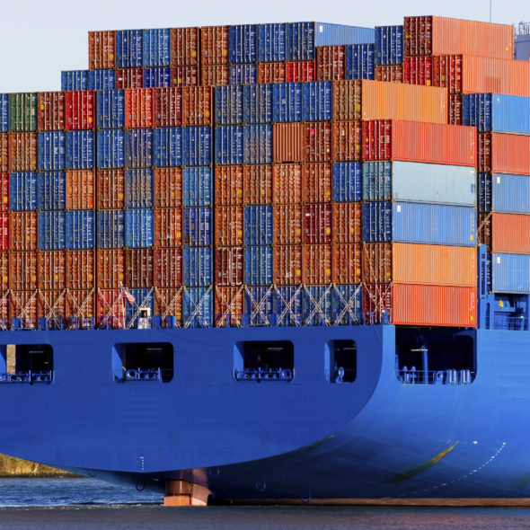 Blue containership with a lot of containers 7